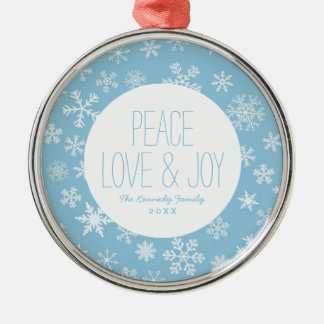 Snow on Light Blue Background Christmas Ornament