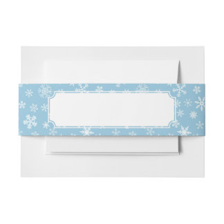 Snow on Light Blue Background Invitation Belly Band