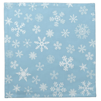 Snow on Light Blue Background Napkin