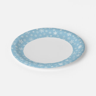 Snow on Light Blue Background Paper Plate