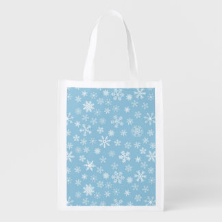 Snow on Light Blue Background Reusable Grocery Bag