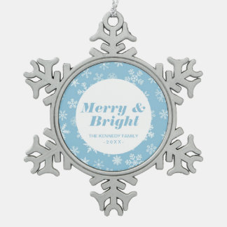 Snow on Light Blue Background Snowflake Pewter Christmas Ornament