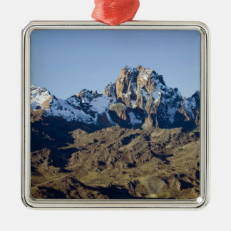 Snow on Mount Kenya Silver-Colored Square Decoration