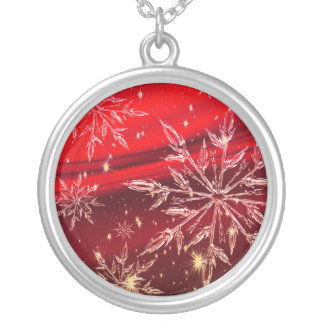 Snow on red background silver plated necklace