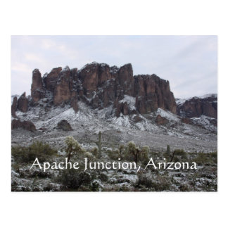 Snow on the superstition mountains postcard