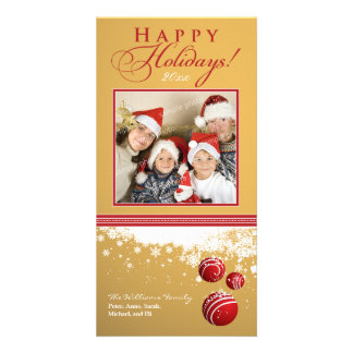 Snow Ornaments Family Holiday Photocard (gold) Photo Cards