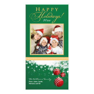 Snow Ornaments Family Holiday Photocard (green) Personalized Photo Card