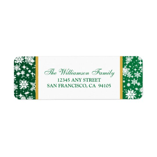 Snow Ornaments Holiday Address Labels (green)