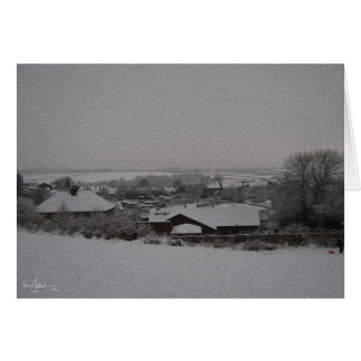 Snow over the Allotments, Harthill with Woodall. Greeting Card