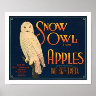 Snow Owl Brand Apples Poster