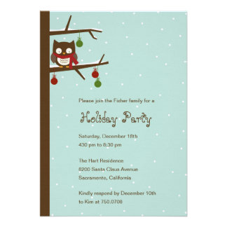 Snow Owl Holiday Party Invitation Personalized Invitation