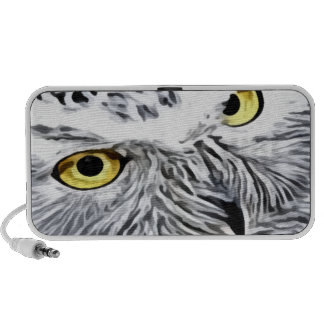 Snow Owl yellow eyes Travel Speaker