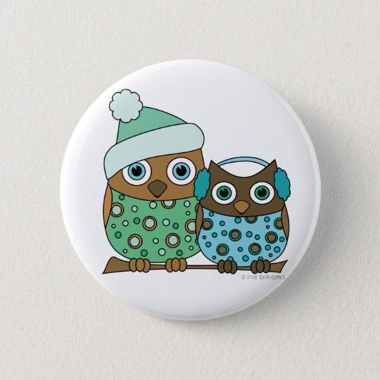 Snow Owls 6 Cm Round Badge