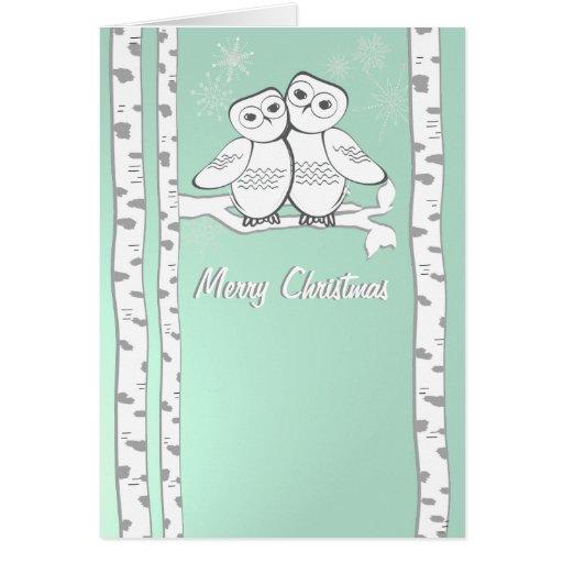 Snow Owls Christmas Greeting Card