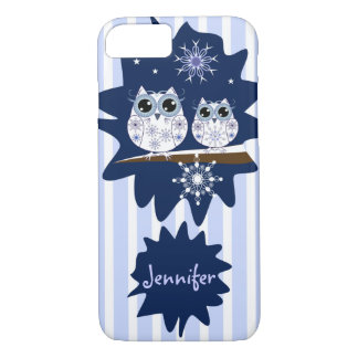 Snow owls, snowflakes & custom Name iPhone 8/7 Case