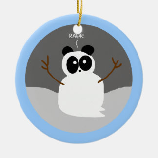 Snow Panda Christmas Ornament