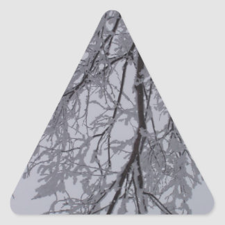 Snow pattern in the trees triangle sticker