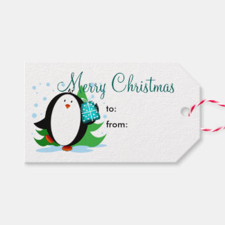 Snow Penguin Merry Christmas Gift Tags
