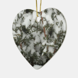 Snow Pine Ceramic Heart Decoration
