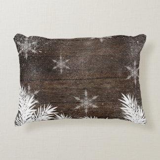 Snow pine trees brown rustic wood Christmas Decorative Cushion