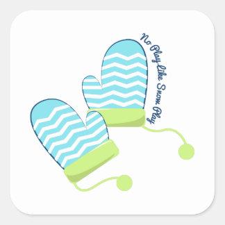 Snow Play Square Stickers