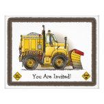 Snow Plough Construction Kids Party Invitation