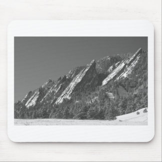 Snow Powder Dusted Flatirons Boulder CO BW Mouse Pad
