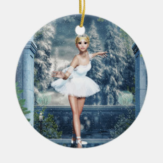Snow Princess Ballerina Double Sided Art Ornament