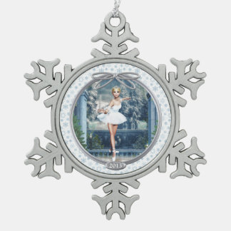 Snow Princess Ballerina Pewter Snowflake Ornament