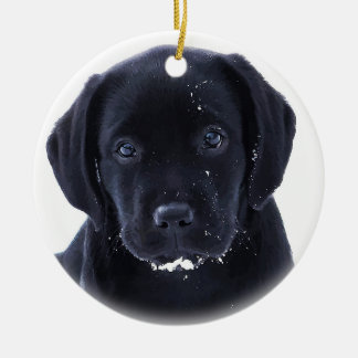 Snow Puppy - Black Labrador Round Ceramic Decoration