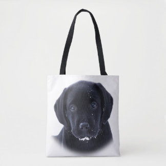 Snow Puppy - Black Labrador Tote Bag