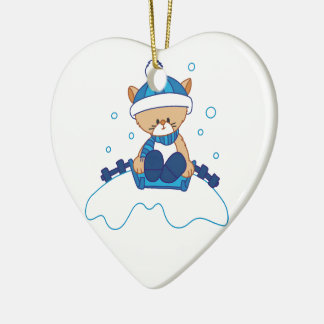 Snow Puppy Winterland Ceramic Heart Decoration