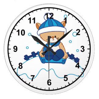 Snow Puppy Winterland Large Clock