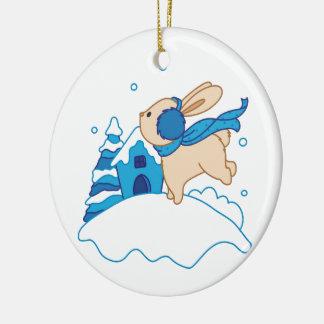 Snow Puppy Winterland Round Ceramic Decoration