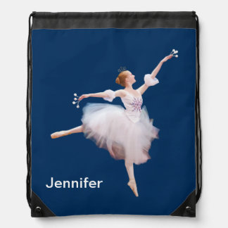 Snow Queen Ballerina Customizable Name Drawstring Bag