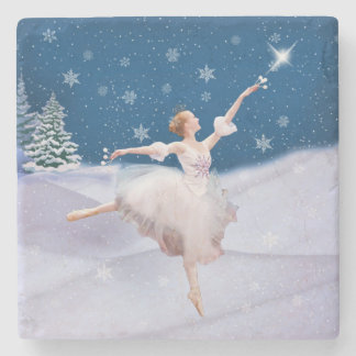 Snow Queen Ballerina Customizable Stone Coaster
