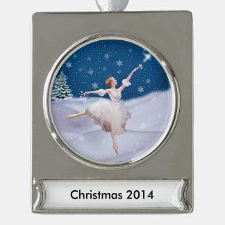 Snow Queen Ballerina Customizable Text Silver Plated Banner Ornament