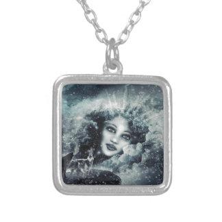 Snow Queen Square Pendant Necklace