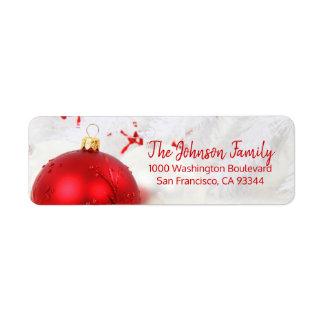 Snow Red Ornament Holiday Christmas Return Address