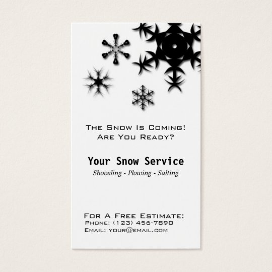 Snow Removal, Snow Ploughing Vertical Black and Business Card