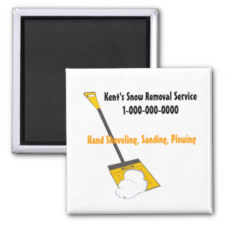 Snow Removal Square Magnet