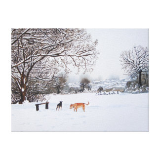 snow scene landscape with trees & rooftops art gallery wrapped canvas