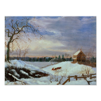 Snow scene, New England Print