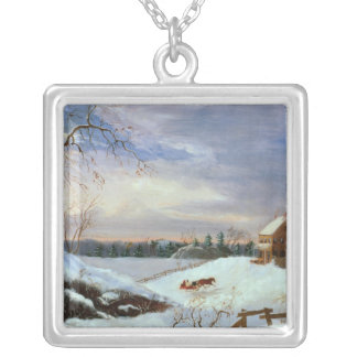 Snow scene, New England Silver Plated Necklace