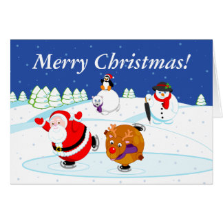 Snow scene of Santa Claus and Rudolph ice skating, Card