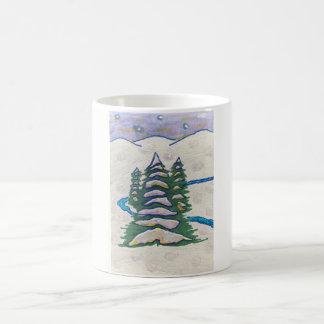 Snow scene River, Evergreens, Mountains, Stars Coffee Mug