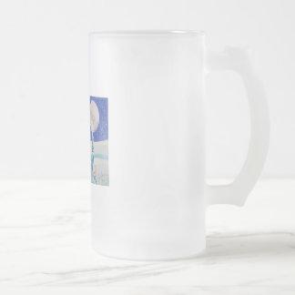 SNOW SCENE SHEEP MOON FROSTED GLASS MUG