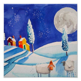 SNOW SCENE SHEEP MOON POSTERS