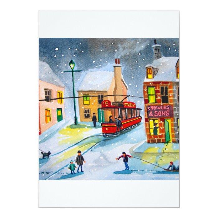 SNOW SCENE TRAM STREET SCENE Gordon Bruce 13 Cm X 18 Cm Invitation Card