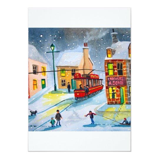 SNOW SCENE TRAM STREET SCENE Gordon Bruce Card